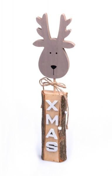 Deko-Figur Elch-Kopf X-Mas auf Holz-Podest, 41x11x3cm Weihnachts-Deko Weihnachten Hirsch Rentier