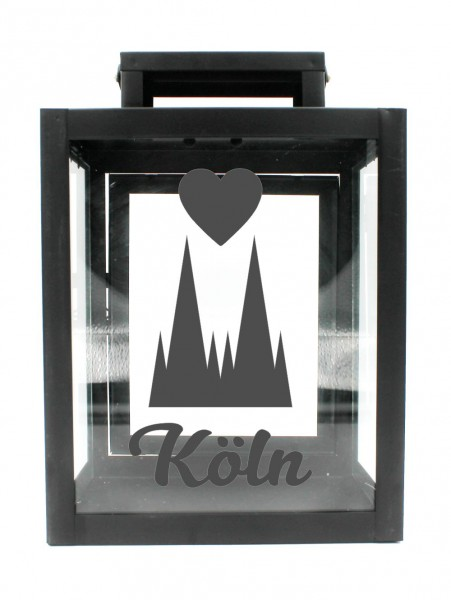 Metall-Laterne Kölner Dom Herz Köln schwarz 25x18x13cm für LED-Kerzen