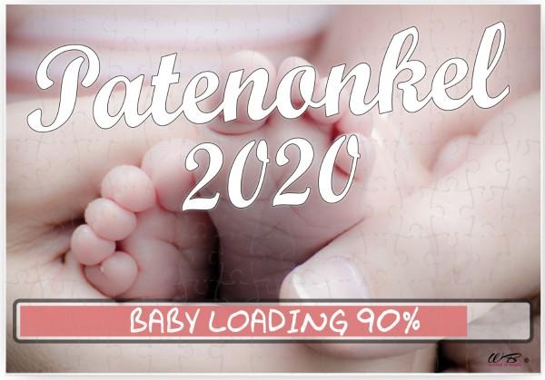 Puzzle-Botschaft eckig, Patenonkel 2020 / Baby-Füße, 120 Teile 27x18cm inkl. Geschenk-Beutel