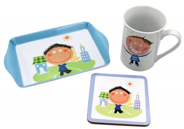 Geschenk-Set für Jungen, Tasse Untersetzer Tablett, blau in Geschenk-Verpackung, Kinder-Geschirr