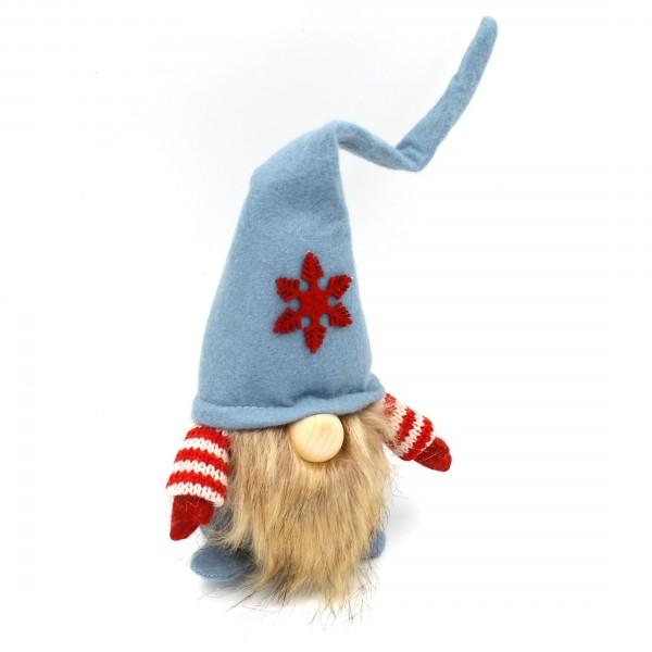 Süßer Wichtel mit Hut, Nase und Bart ~ blau, rot, weiß, Stern ~ S 32cm