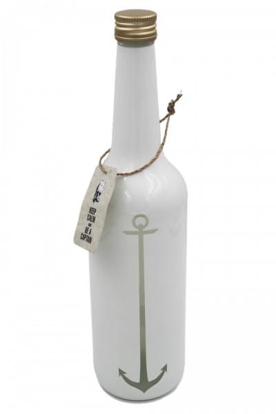 Glas-Flasche mit Schraubverschluss, Anchor Anker, weiß 0,7l maritim, Pirate Serie Zauberwerk by Ritzenhoff & Breker