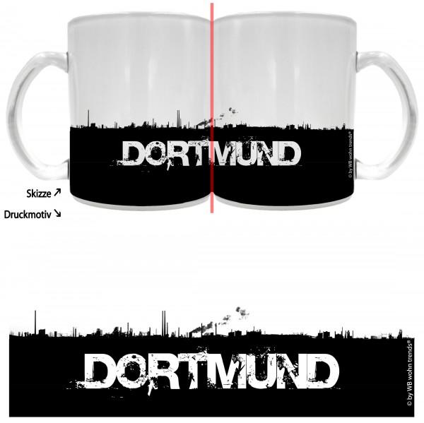 Tee-Glas mit rundum Motiv: DORTMUND Skyline ~ Farbe: Milchglas ~ Kaffee-Tasse mit Motiv