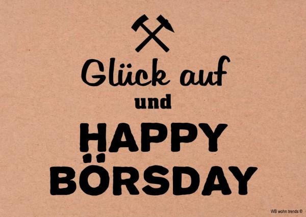 Postkarte, Glück auf und Happy Börsday, Ruhrpott Ruhrgebiet Vintage Karton braun 10,5x14,8cm A6