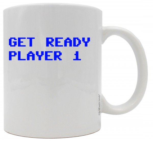 Tasse mit beidseitigem Motiv, Get Ready Player 1, Farbe: weiß, Kaffee-Becher mit Motiv