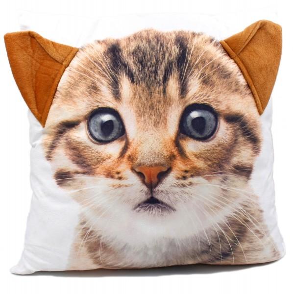 Flauschiges 3D Deko-Kissen mit Tier-Motiv, Katze, mit angenähten Plüsch-Ohren, 42x42cm