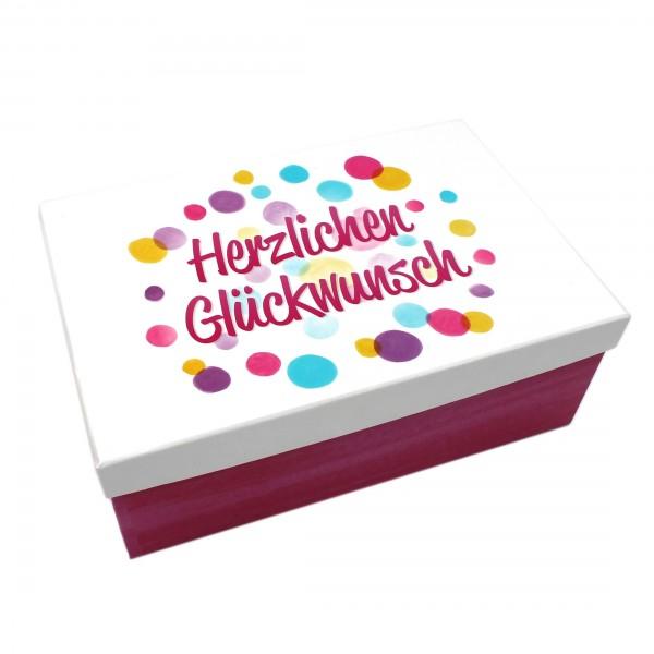 Geschenkbox, Herzlichen Glückwunsch / Kreise pink weiß bunt, 18x10,5x7cm, 21892, Kiste Box aus Pappe
