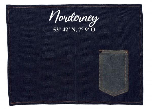 Platzset Jeans-Stoff, Norderney mit Koordinaten, mit Tasche für Messer und Gabel 40x30cm blau weiß Textil-Untersetzer Tisch-Set