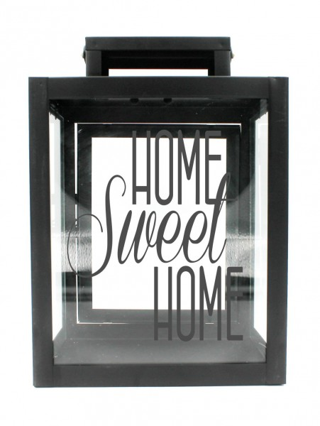 Metall-Laterne Home Sweet Home schwarz 25x18x13cm für LED-Kerzen