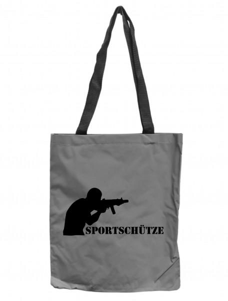 Reflektor-Tasche Sportschütze Langwaffe Gewehr, grau-silber REFLEKTIERT! Einkaufs-Beutel mit Innentasche, Einkaufstasche Tragetasche Shopper Shopping-Bag