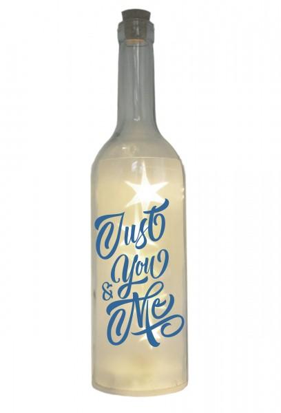 LED-Flasche mit Motiv, Just You & Me, blau, 29cm, Flaschen-Licht Lampe mit Text Spruch
