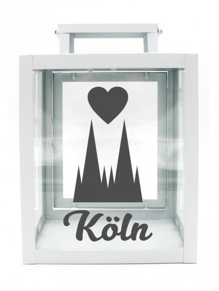 Metall-Laterne Kölner Dom Herz Köln weiß 25x18x13cm für LED-Kerzen
