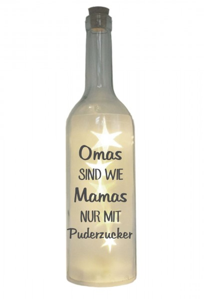 LED-Flasche mit Motiv, Omas sind wie Mamas nur mit Puderzucker, grau, 29cm, Flaschen-Licht Lampe mit Text Spruch