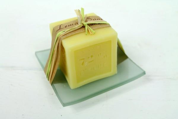 Kerze aus Seife auf Glasschale - Lemon / Zitrone - angenehmer Duft - Schöne Deko und Geschenkidee