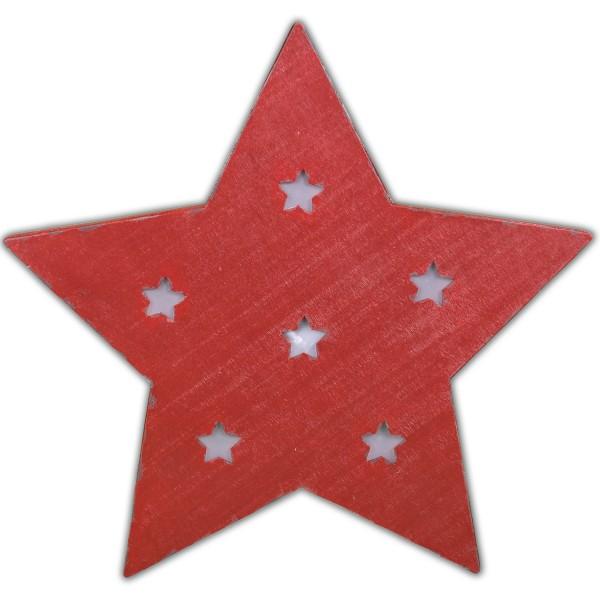 Leuchtender Stern aus Holz ~ rot ~ mit LED ~ SHABBY LOOK ~ zum Stellen oder Hängen ~ 33 x 32 cm