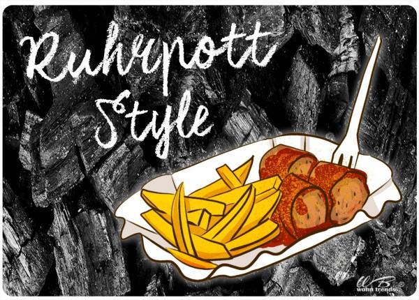 Holz-Brett, Ruhrpott Style Currywurst Pommes, schwarz, Holz-Schild Wand-Bild 21x15cm
