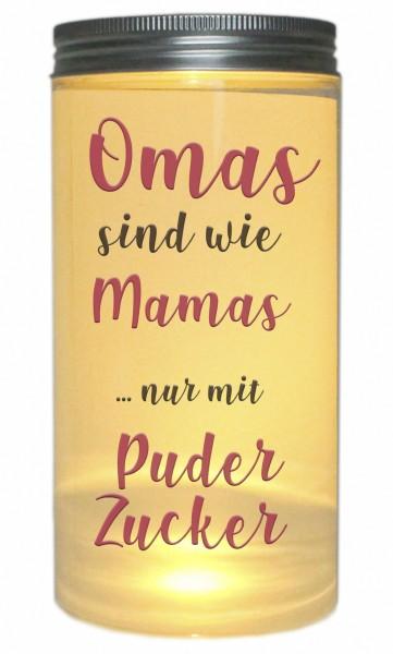 LED-Licht Omas sind wie Mamas nur mit Puderzucker, 14x7cm Dose mit Deckel Leuchte LED-Lampe mit Text Spruch Mama Mutter-Tag