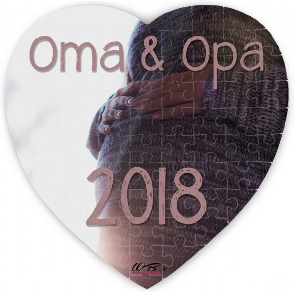 Puzzle-Botschaft Herz ~ Oma & Opa 2018 - Baby-Bauch ~ 75 Teile 19x19cm inkl. Geschenk-Beutel ~ WB wohn trends®