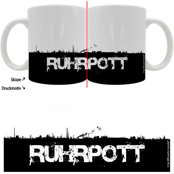 Tasse mit rundum Motiv: RUHRPOTT Skyline ~ Farbe: weiß ~ Kaffee-Becher mit Motiv