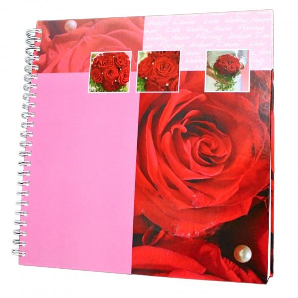 Fotoalbum & Gästebuch für Hochzeit - Spriralalbum mit Rosen Muster, 40 Seiten, 31 x 32 cm