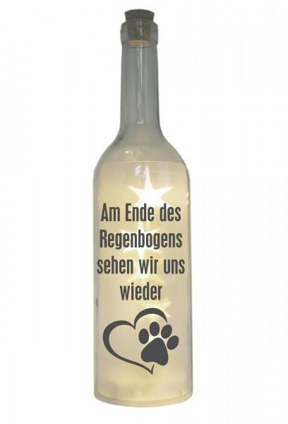 LED-Flasche mit Motiv ~ Am Ende des Regenbogens... / Hund Katze ~ grau ~ 29cm ~ Flaschen-Licht Lampe mit Text Spruch Tra