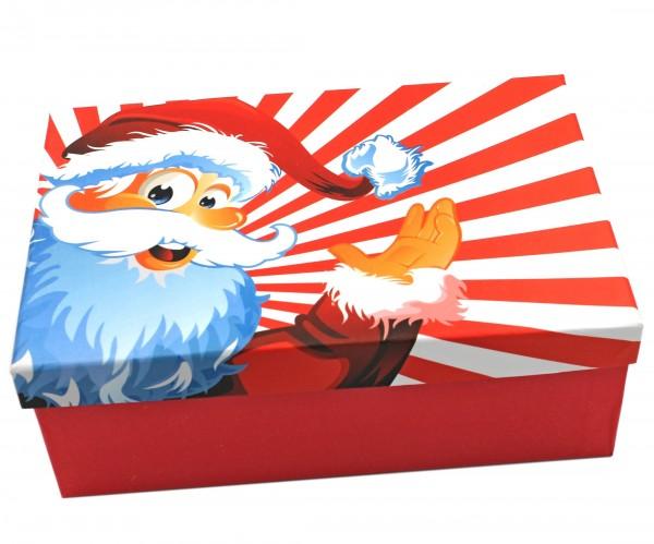 Geschenkbox, Fröhlicher Weihnachtsmann oder Nikolaus - Weihnachten, 18x10,5x7cm, 22798, Kiste Box aus Pappe