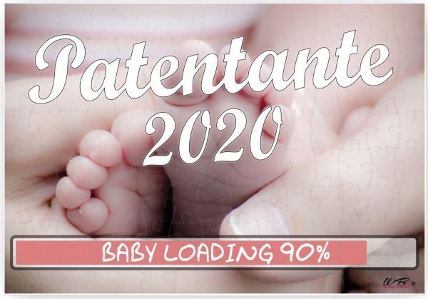 Puzzle-Botschaft eckig, Patentante 2020 / Baby-Füße, 120 Teile 27x18cm inkl. Geschenk-Beutel