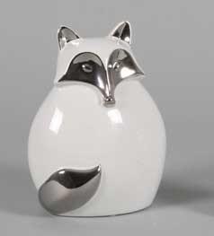Großer Fuchs - ca 17cm - silber / weiß - Edle Deko Figur aus Keramik in silber chrom glasiert