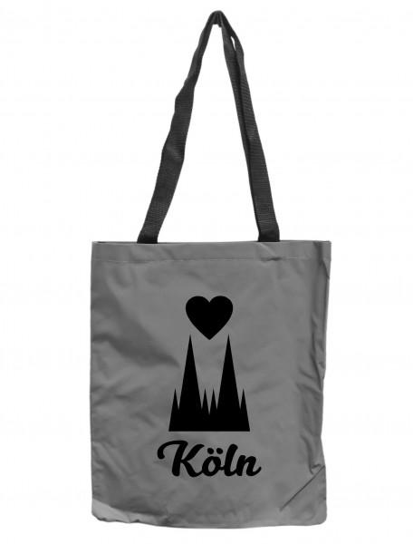 Reflektor-Tasche Köln Dom-Spitzen mit Herz, grau-silber REFLEKTIERT! Einkaufs-Beutel mit Innentasche, Einkaufstasche Tragetasche Shopper Shopping-Bag