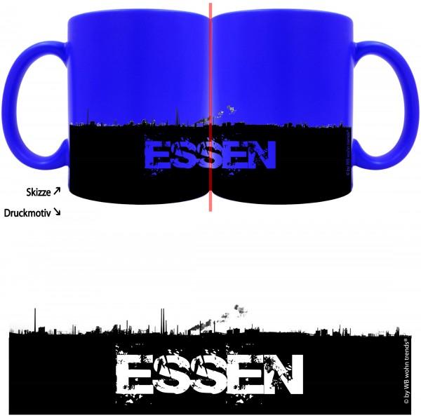 knallige Tasse mit rundum Motiv: ESSEN Skyline ~ Farbe: neon-blau ~ Kaffee-Becher mit Motiv