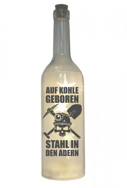 LED-Flasche mit Motiv, Ruhrgebiet Auf Kohle geboren, grau, 29cm, Flaschen-Licht Lampe mit Text Spruch