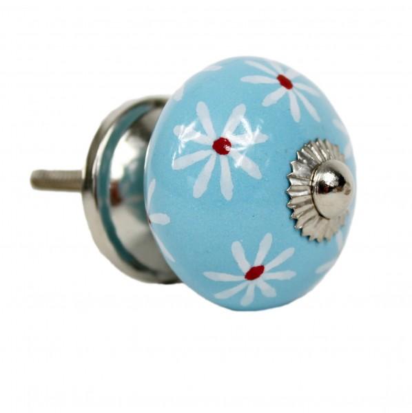 hell-blau, Blüten, rund - Vintage Keramik Möbelknauf zum schrauben - Motiv 7