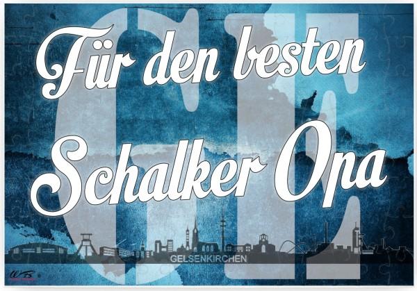 Puzzle-Botschaft eckig ~ Für den besten Schalker Opa - Gelsenkirchen ~ 120 Teile 27x18cm inkl. Geschenk-Beutel ~ WB wohn