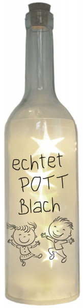 LED-Flasche Folien-Motiv echtet POTT Blach, Ruhrgebiet Ruhrpott, 29cm, Flaschen-Licht Lampe mit Text Spruch
