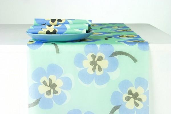 BLOMA Hellblau Blumen floral, Tischläufer, 33 cm x 6 m, Tischband I lagig