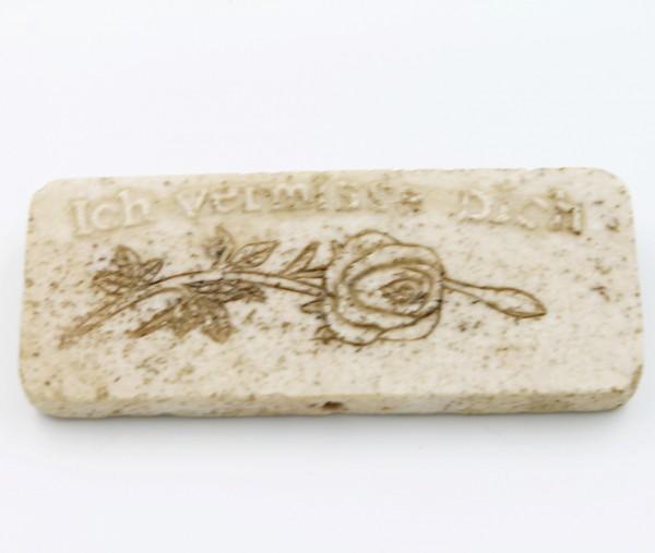 Platte zum Legen, Hängen und Blumenstecker, Ich vermisse Dich / Rose, creme Marmor Optik, 9,5 x 4 x 1cm