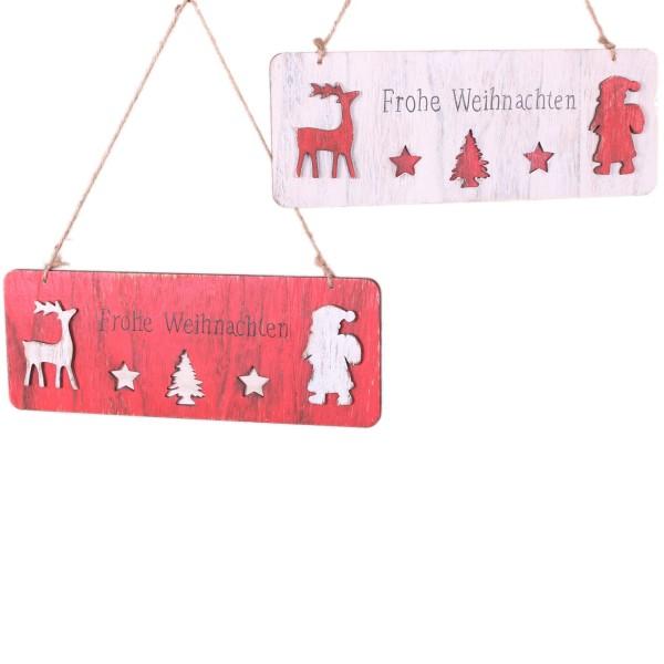 Schild aus Holz zum Hängen, FROHE WEIHNACHTEN, rot oder weiß, 26x10cm, schön