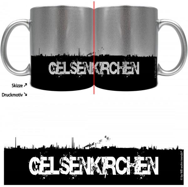 knallige Tasse mit rundum Motiv: GELSENKIRCHEN Skyline ~ Farbe: silber-metallic ~ Kaffee-Becher mit Motiv