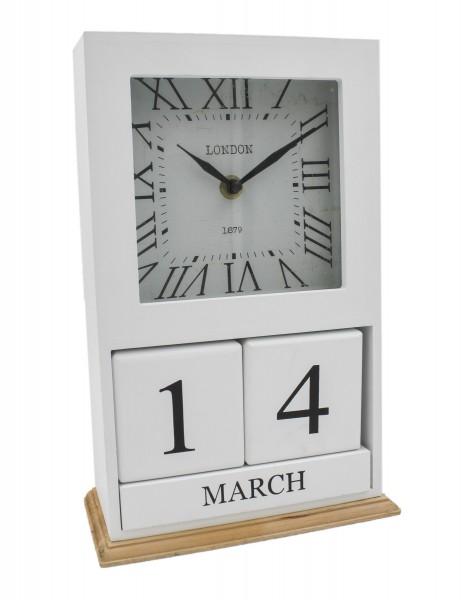 Tisch-Uhr LONDON 1879 weiß, mit Kalender und Monatsanzeige als Würfel, aus Holz 28,5x18,5x9cm