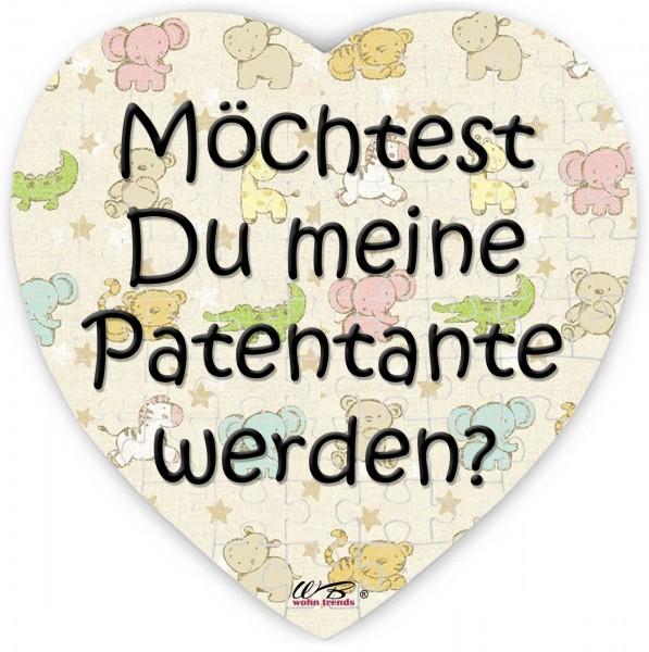 Puzzle-Botschaft Herz, Möchtest Du meine Patentante werden - bunt, 75 Teile 19x19cm inkl. Geschenk-Beutel, WB wohn trends®