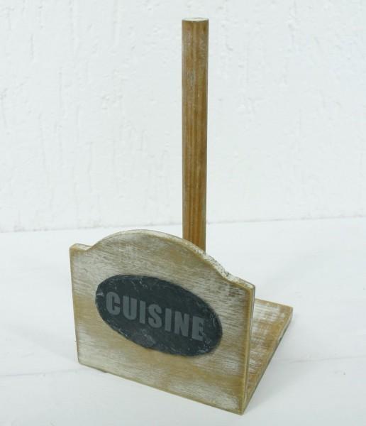 Nostalgischer Halter für Küchenrollen - CUISINE - aus Holz mit Schieferplatte