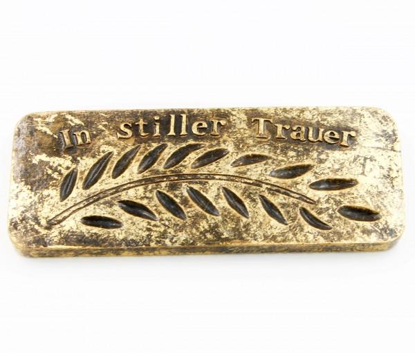 Platte zum Legen oder Hängen, In stiller Trauer, gold Optik, groß 15 x 6 x 1cm