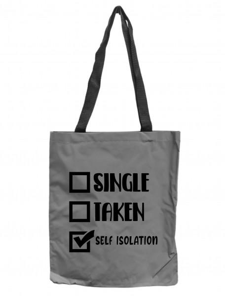 Reflektor-Tasche Single Taken Self-Isolation, grau-silber REFLEKTIERT! Einkaufs-Beutel mit Innentasche, Einkaufstasche Tragetasche Shopper Shopping-Bag
