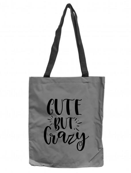 Reflektor-Tasche Cute but crazy, grau-silber REFLEKTIERT! Einkaufs-Beutel mit Innentasche, Einkaufstasche Tragetasche Shopper Shopping-Bag