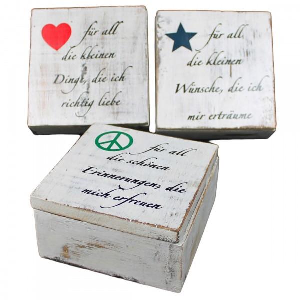 Weiße Kiste aus Holz mit Aufdruck, 3 verschiedene Modelle zur Auswahl, 12 x 12