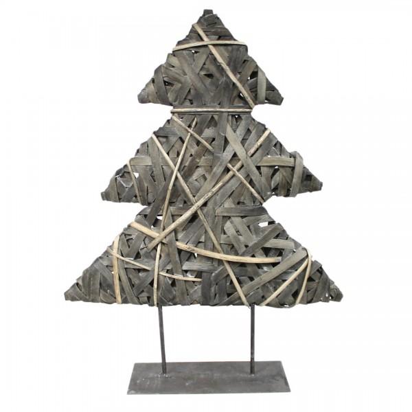 Deko Tanne Weihnachtsbaum aus Korb-Geflecht auf Metall Ständer: groß: 70cm