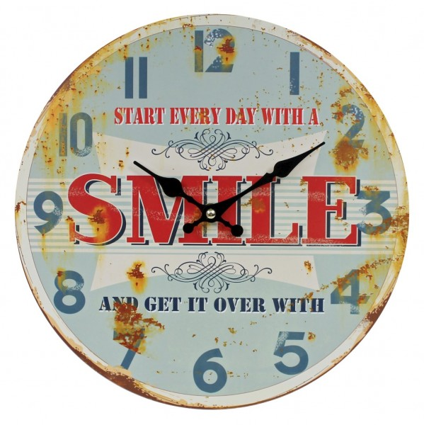 Wanduhr aus Holz, START EVERY DAY WITH A SMILE, blau rot / 29cm, Vintage Shabby Uhr, WB wohn trends