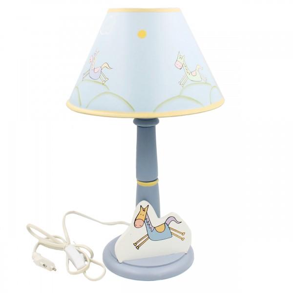 Bunte Lampe für Kinderzimmer ~ Pferd ~ aus Holz mit Schirm ~ 39cm hoch ~ E14 40W