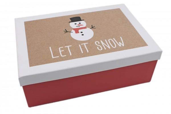 Geschenk-Box Let it snow Schneemann rot weiss, 28,5x20x10cm, 267, Größe&Farbe wählbar, Weihnachten Kiste Karton aus Pappe