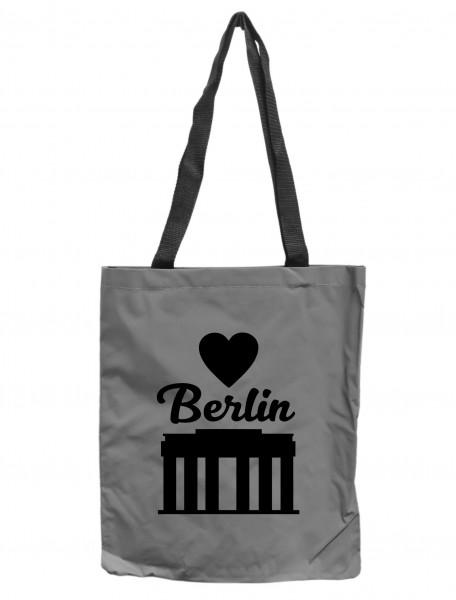 Reflektor-Tasche Berlin Brandenburger Tor, grau-silber REFLEKTIERT! Einkaufs-Beutel mit Innentasche, Einkaufstasche Tragetasche Shopper Shopping-Bag